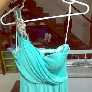 MINT green, one shoulder high-low dress.